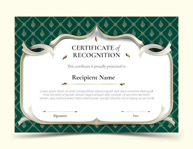 Certificate of recognition template abstract white frame plus white smooth rip curl edges on green tradition thai pattern