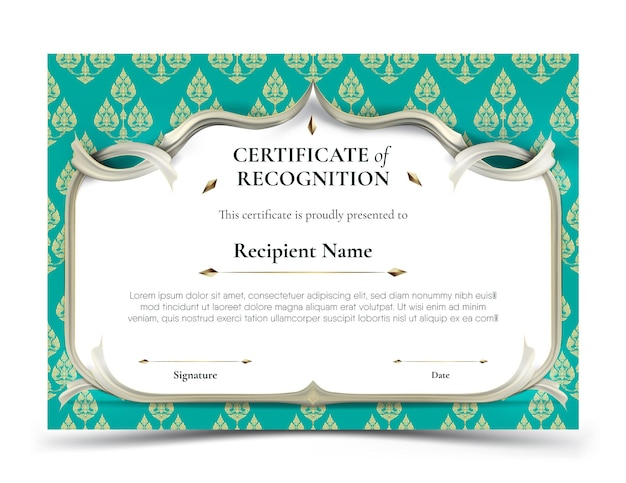 Certificate of recognition template. abstract white frame plus white smooth rip curl edges on green turquoise tradition
