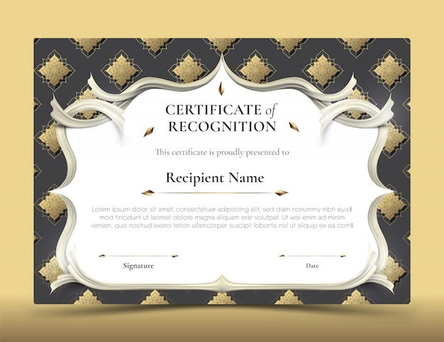 Certificate of recognition template with traditional black and gold thai pattern border