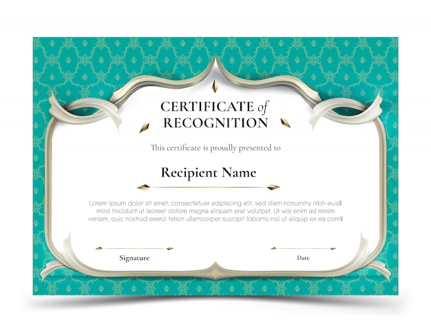 Certificate of recognition template with traditional turquoise thai pattern border