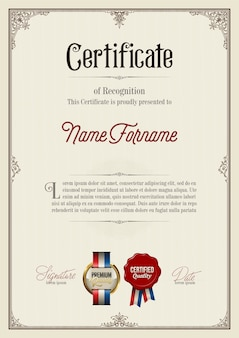 Certificate of recognition in vintage frame
