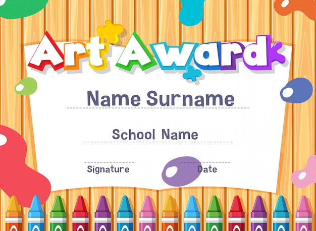 Certificate template for art award with paints