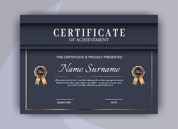 Certificate template background. award diploma design blank. illustration design Premium Vector