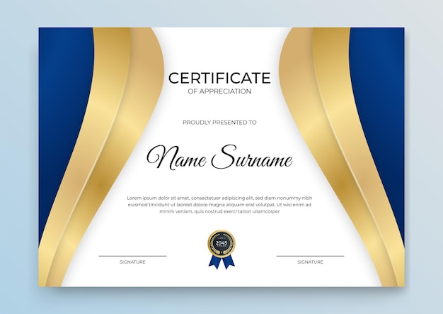 Certificate template banner with abstract geometric shape for print template with golden wave and white clean modern