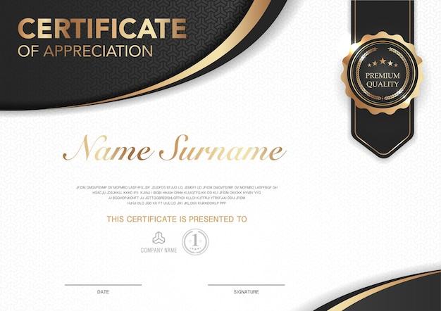 고급 스타일 이미지가 있는 인증서 템플릿 검정과 금색 기하학적 현대적인 디자인의 디플로마