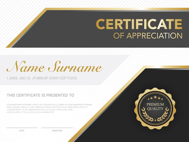 Certificate template black and gold with luxury style image diploma of geometric modern design