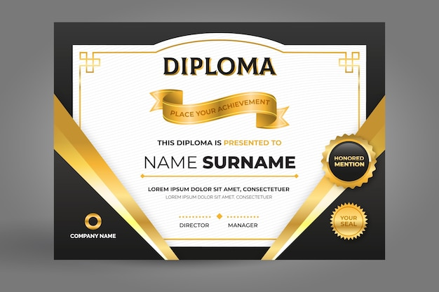 Certificate template in black and golden