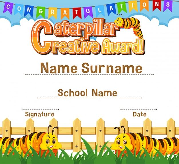 Certificate template for caterpillar creative award with caterpillars in