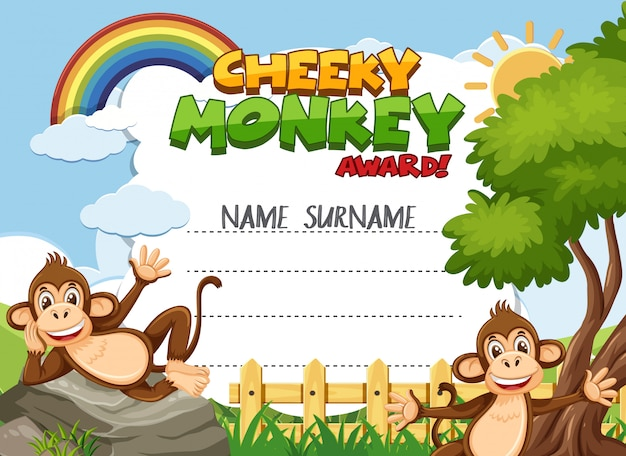 Certificate template for cheeky award with monkeys in background