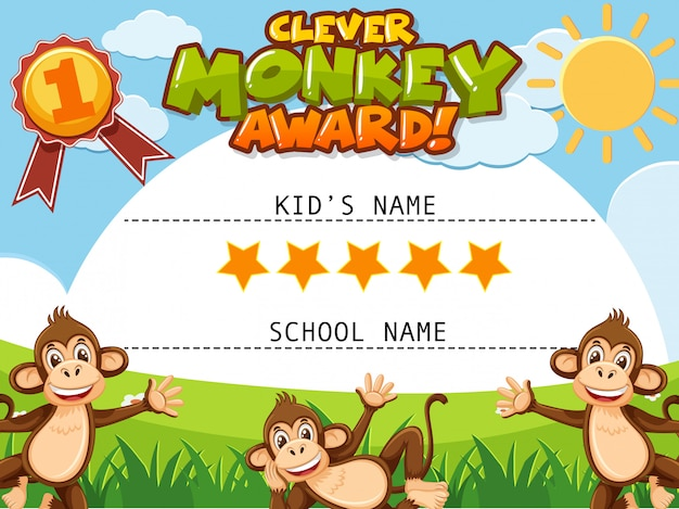 Certificate template for clever monkey award with monkeys