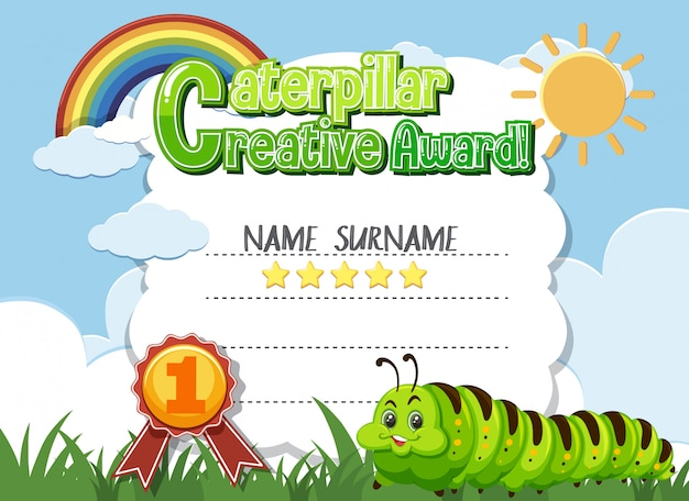 Certificate template for creative award with caterpillar in background
