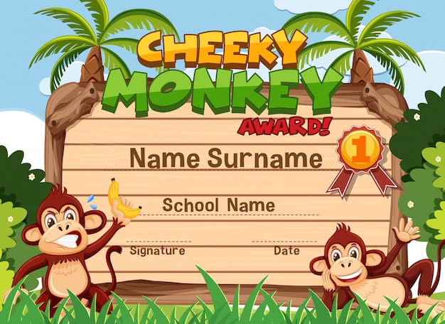 Certificate template design for cheeky monkey award with two monkeys in background