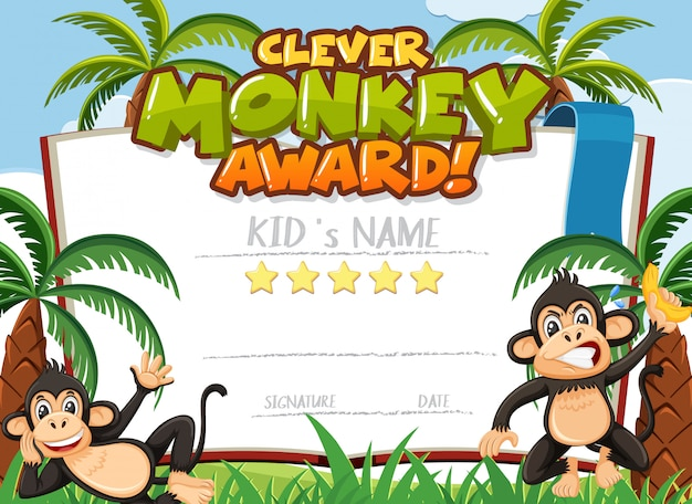 Certificate template design for clever monkey award with two monkeys in background