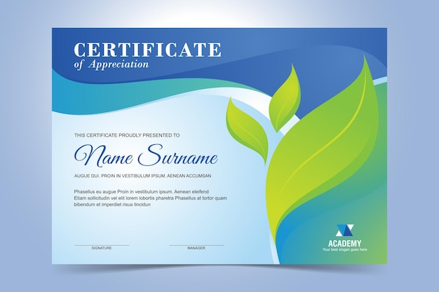 Certificate template design for environmental event