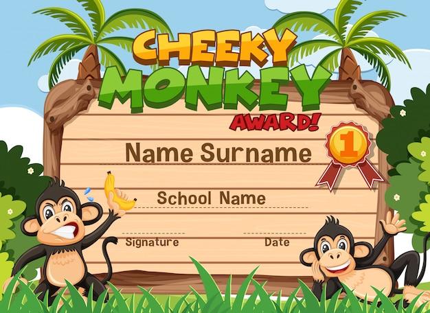 원숭이와 건방진 원숭이 상을위한 인증서 템플릿 디자인