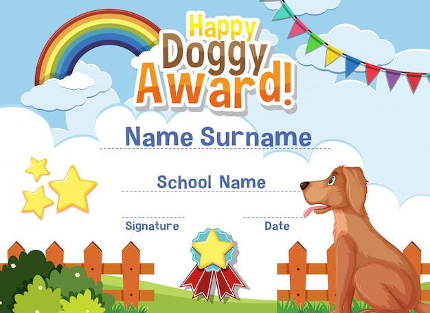 Certificate template design for happy doggy award with cute dog in background