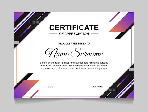 Certificate template design with geometric shapes