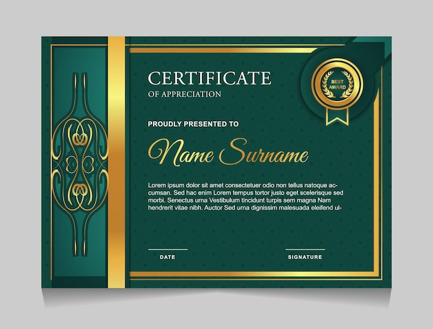 Certificate template design with green and gold luxury modern shapes