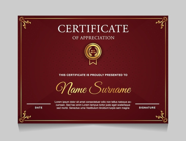 Certificate template design with luxury gold border and red color modern shapes
