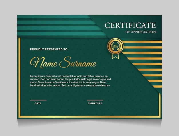 Certificate template design with luxury gold and green color modern shapes