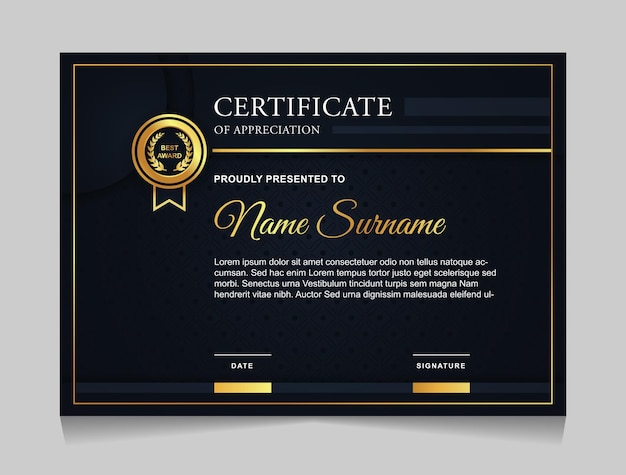 Certificate template design with luxury gold and navy blue color modern shapes
