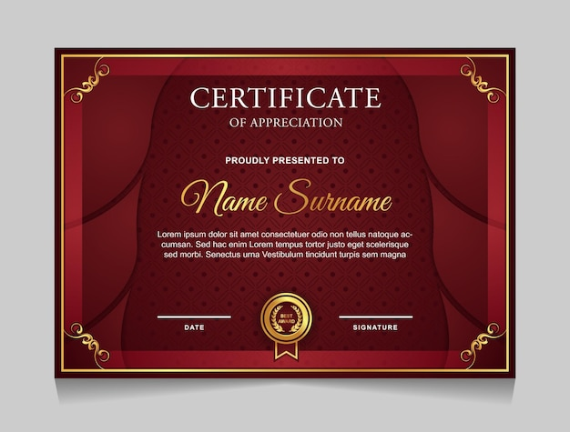 Certificate template design with luxury gold and red color modern shapes