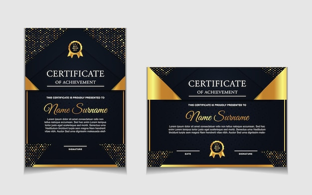 Certificate template design with navy blue and luxury modern shapes