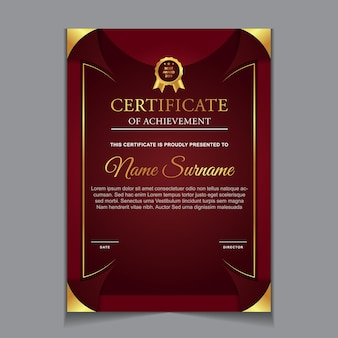 Certificate template design with red and luxury modern shapes