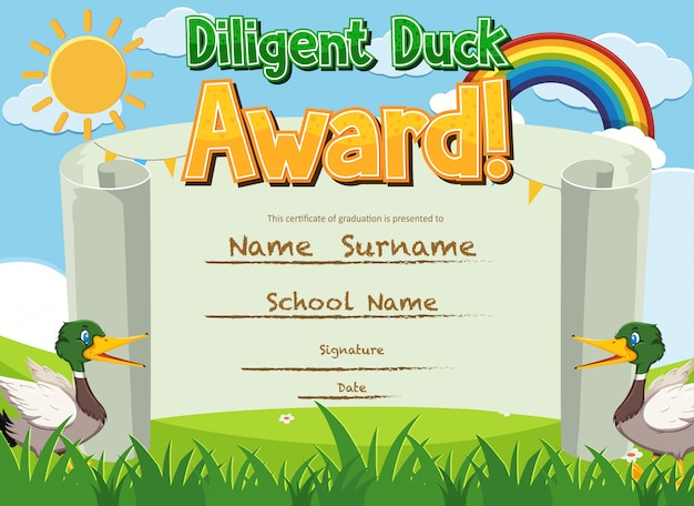 Certificate template for diligent award with ducks in the park