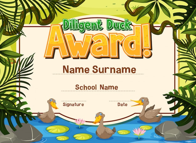 Certificate template for diligent award