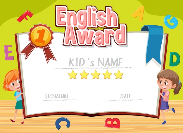 Certificate template for english award with alphabets