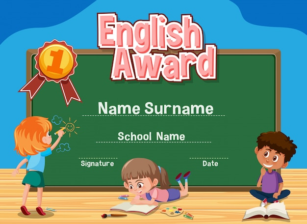 Certificate template for english award with kids studying