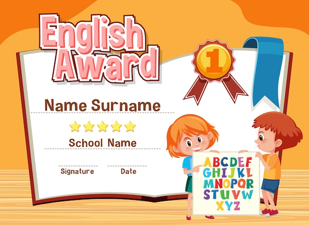Certificate template for english award with kids in