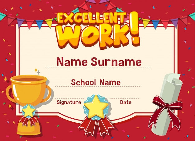 Certificate template for excellent work with trophy in