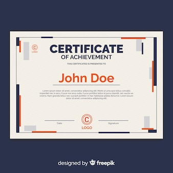 Certificate template in flat design
