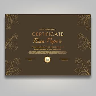 Certificate template flower luxury modern