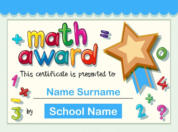 Шаблон сертификата для математической награды с золотой звездой Бесплатные векторы