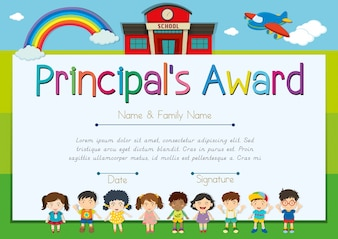 Certificate template for principal's award