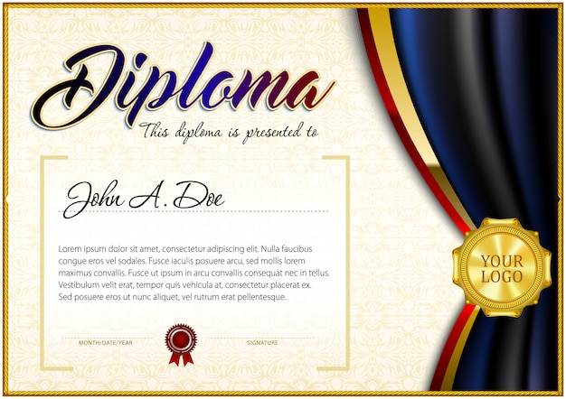 Certificate template in gradient polygonal style.