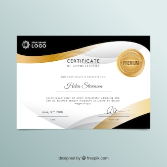 Certificate template in golden color
