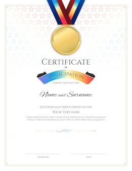 Шаблон сертификата в спортивной тематике с рамкой, дизайн диплома