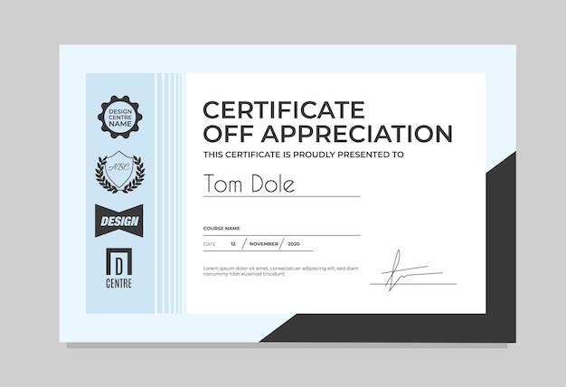 Certificate template in light color