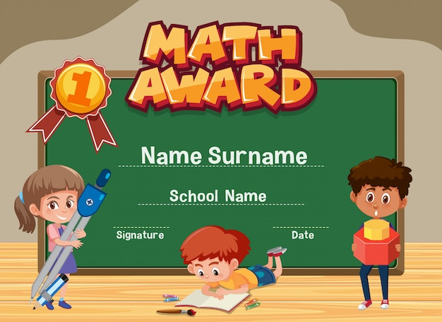 Certificate template for math award with kids in classroom background