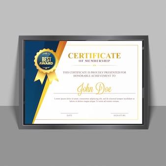 Certificate template of membership.
