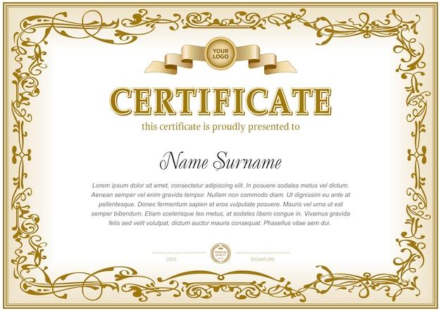 Certificate template in monochrome color gamma.