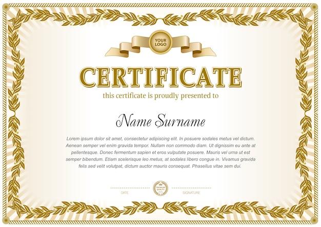 Certificate template in monochrome color gamma