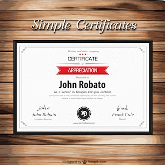 Certificate template on wooden texture