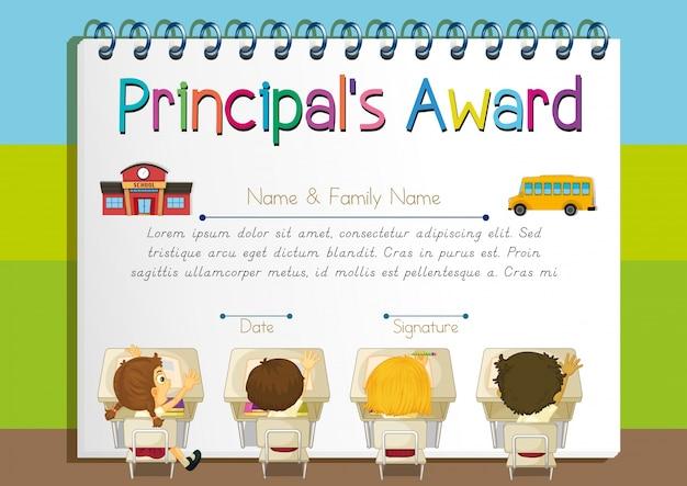Certificate template for principal's award