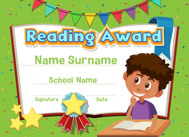 Certificate template for reading award with boy reading in background