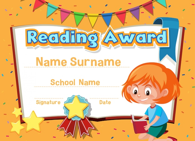 Certificate template for reading award with girl reading in